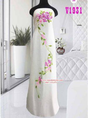 Vải áo dài trắng vẽ hoa cao cấp AD V1931