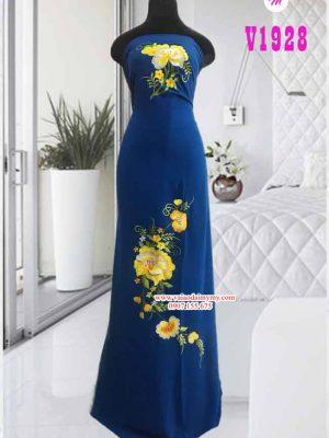 Vải áo dài thêu hoa cao cấp AD V1928