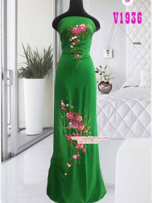 Vải áo dài thêu hoa đẹp AD V1936
