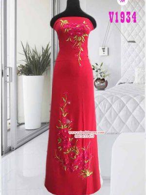 Vải áo dài thêu hoa đẹp AD V1934