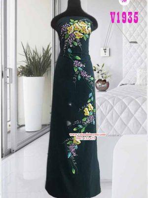 Vải áo dài vẽ hoa dây đẹp sang AD V1935