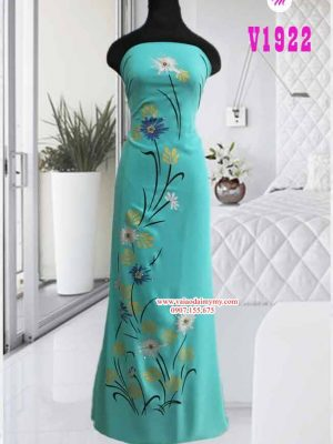 Vải áo dài vẽ hoa đính hạt AD V1922