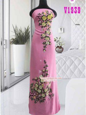 Vải áo dài vẽ hoa nổi màu hồng AD V1939