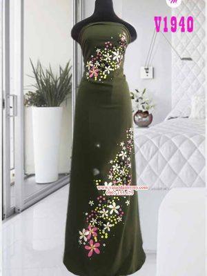 Vải áo dài vẽ hoa nổi sắc sảo AD V1940