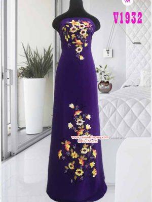 Vải áo dài màu tím vẽ hoa đẹp sang AD V1932
