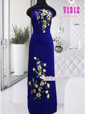 Vải áo dài vẽ hoa và đính hạt AD V1912