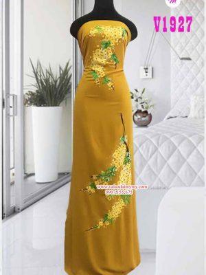 Vải áo dài vẽ hoa vàng đẹp AD V1927