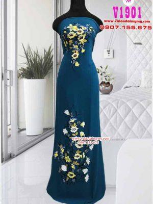 Vải áo dài vẽ hoa cúc độc đáo AD V1901