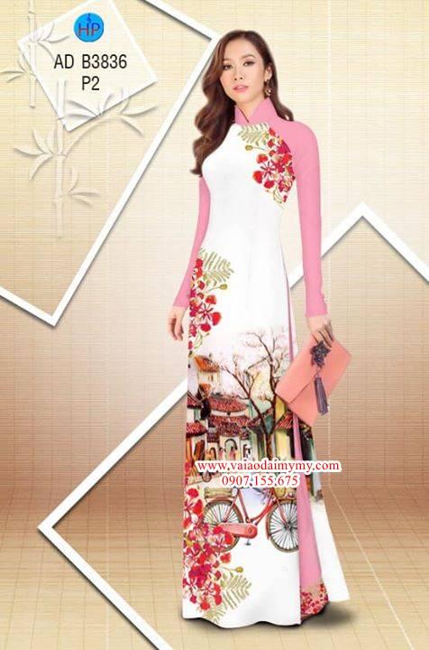 Vải áo dài hoa Phượng trong kỷ niệm AD B3836 32