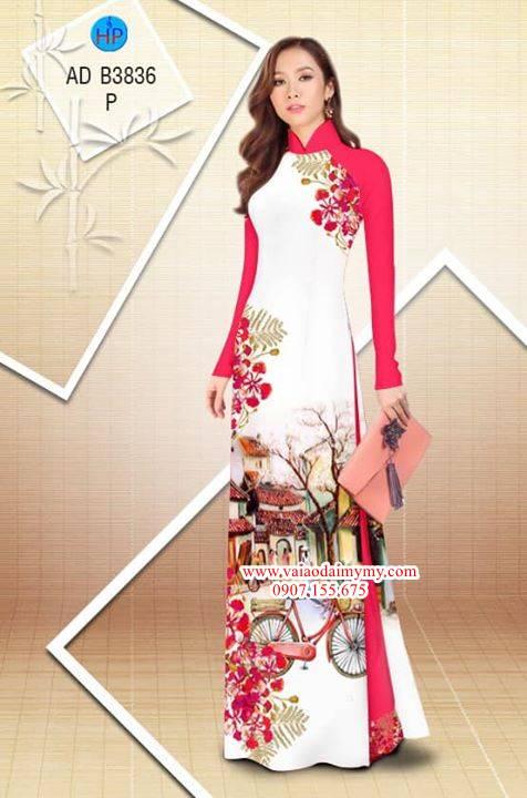 Vải áo dài hoa Phượng trong kỷ niệm AD B3836 36