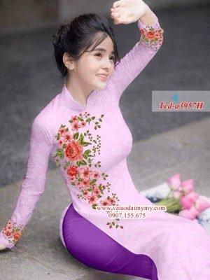 Vải áo dài hoa hồng đẹp AD TED a3957