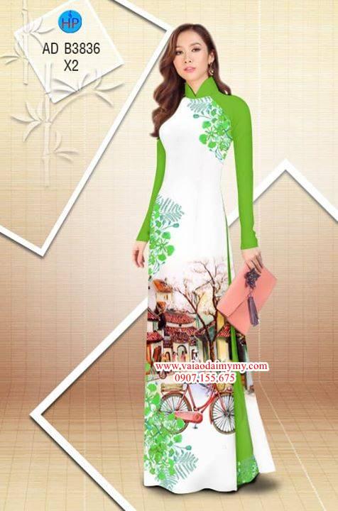 Vải áo dài hoa Phượng trong kỷ niệm AD B3836 31
