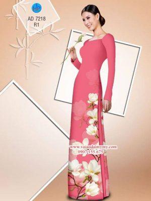 Vải áo dài hoa đào đáng yêu AD 7218