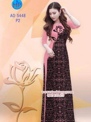 Vải áo dài Hoa hồng AD 5448