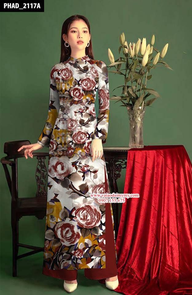 Vải áo dài hoa hồng