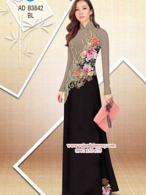 Vải áo dài Hoa Mẫu Đơn AD B3842