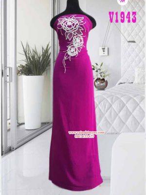 Vải áo dài đính hạt hình hoa hồng AD V1943