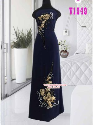 Vải áo dài đính hoa cao cấp AD V1949