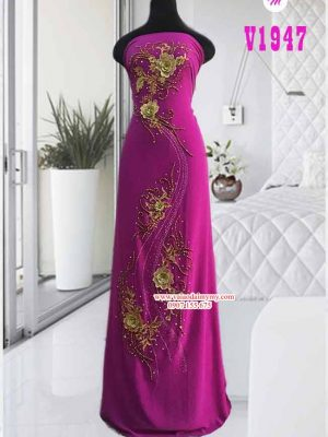 Vải áo dài đính hoa đẹp cao cấp AD V1947