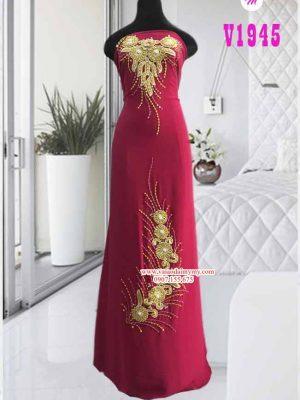 Vải áo dài đính hoa cao cấp AD V1945