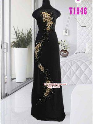 Vải áo dài màu đen đính hoa cao cấp AD V1946