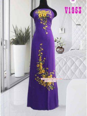 Vải áo dài thêu hoa vàng đẹp AD V1953