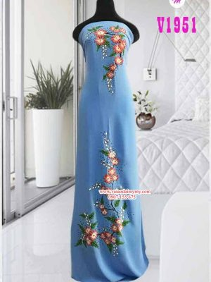 Vải áo dài vẽ hoa nổi AD V1951