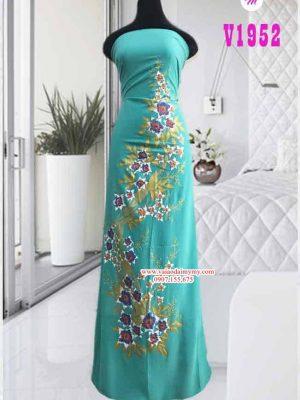 Vải áo dài vẽ hoa màu xanh ngọc