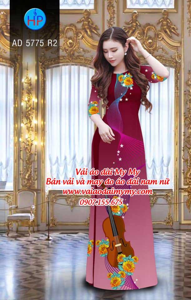 Vải áo dài Đàn và hoa AD 5775 5