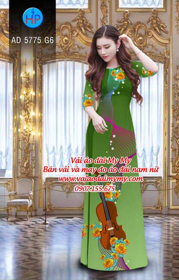 Vải áo dài Đàn và hoa AD 5775 2