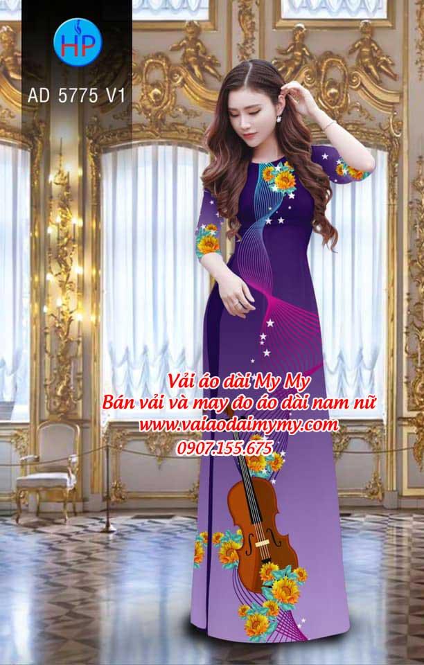 Vải áo dài Đàn và hoa AD 5775 6
