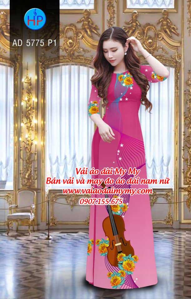Vải áo dài Đàn và hoa AD 5775 4