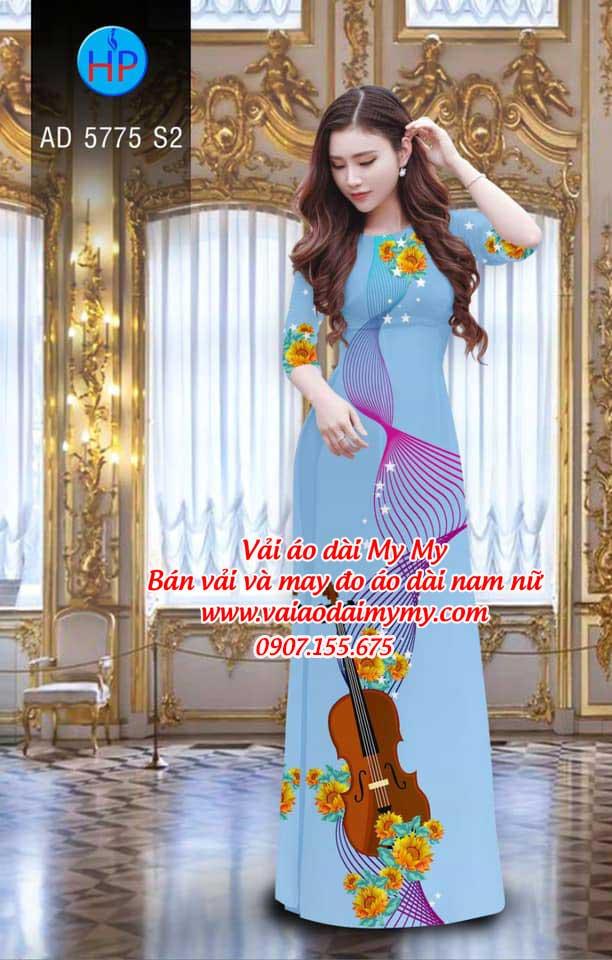 Vải áo dài Đàn và hoa AD 5775 3
