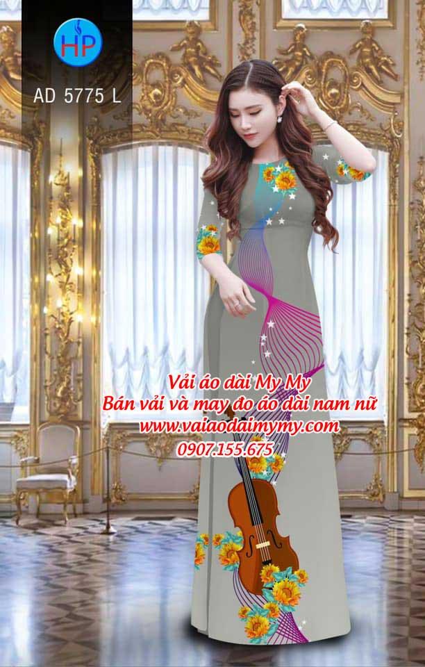 Vải áo dài Đàn và hoa AD 5775 11