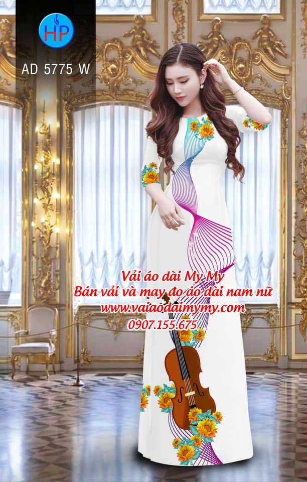 Vải áo dài Đàn và hoa AD 5775 9