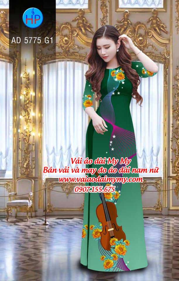 Vải áo dài Đàn và hoa AD 5775 12
