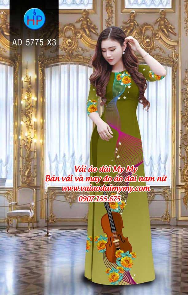 Vải áo dài Đàn và hoa AD 5775 10