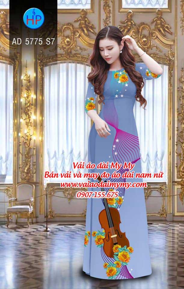 Vải áo dài Đàn và hoa AD 5775 7