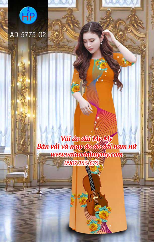 Vải áo dài Đàn và hoa AD 5775 1