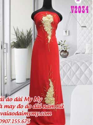 Vai Ao Dai Dinh Hat Hinh Chum Nho