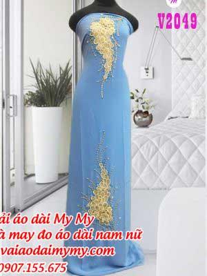Vai Ao Dai Dinh Hinh Chum Nho Mau Xanh