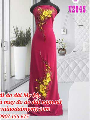 Vai Ao Dai Dinh Hoa Vang Ngoi Sui Tre Trung