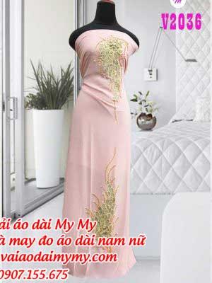 Vai Ao Dai Hong Phan Dinh Hoa Chum Nho