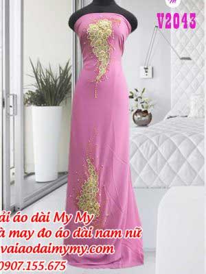 Vai Ao Dai Mau Hong Dinh Chum Nho Sang Trong