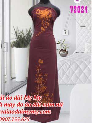 Vai Ao Dai Mau Ruoc Theu Hoa Dep