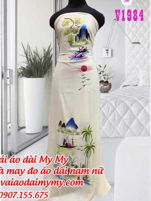 Vai Ao Dai Mau Trang Theu Phong Canh