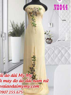 Vai Ao Dai Mau Vang Nhat Dinh Hoa Tre Trung