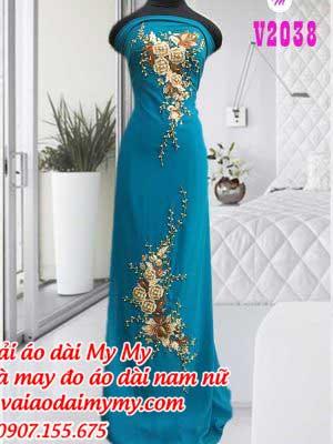 Vai Ao Dai Mau Xanh Dinh Hoa Hong