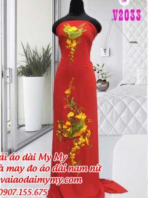 Vai Ao Dai Theu Hinh Hoa Sen