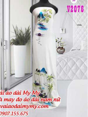 Vai Ao Dai Theu Hinh Phong Canh